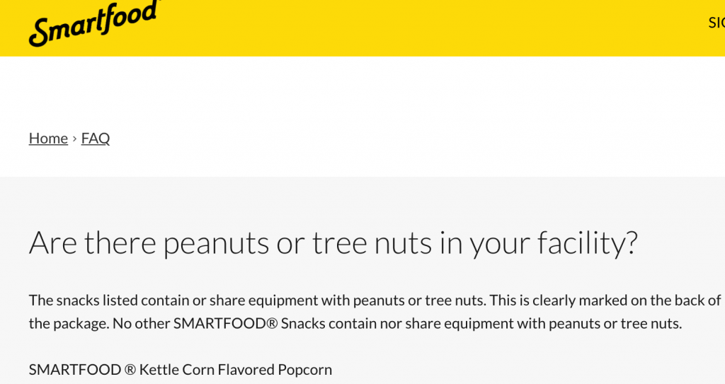 Screen Shot Smartfood Kettle Corn Shares Equipement with Peanuts and Tree Nuts Other Snacks are Nut Free