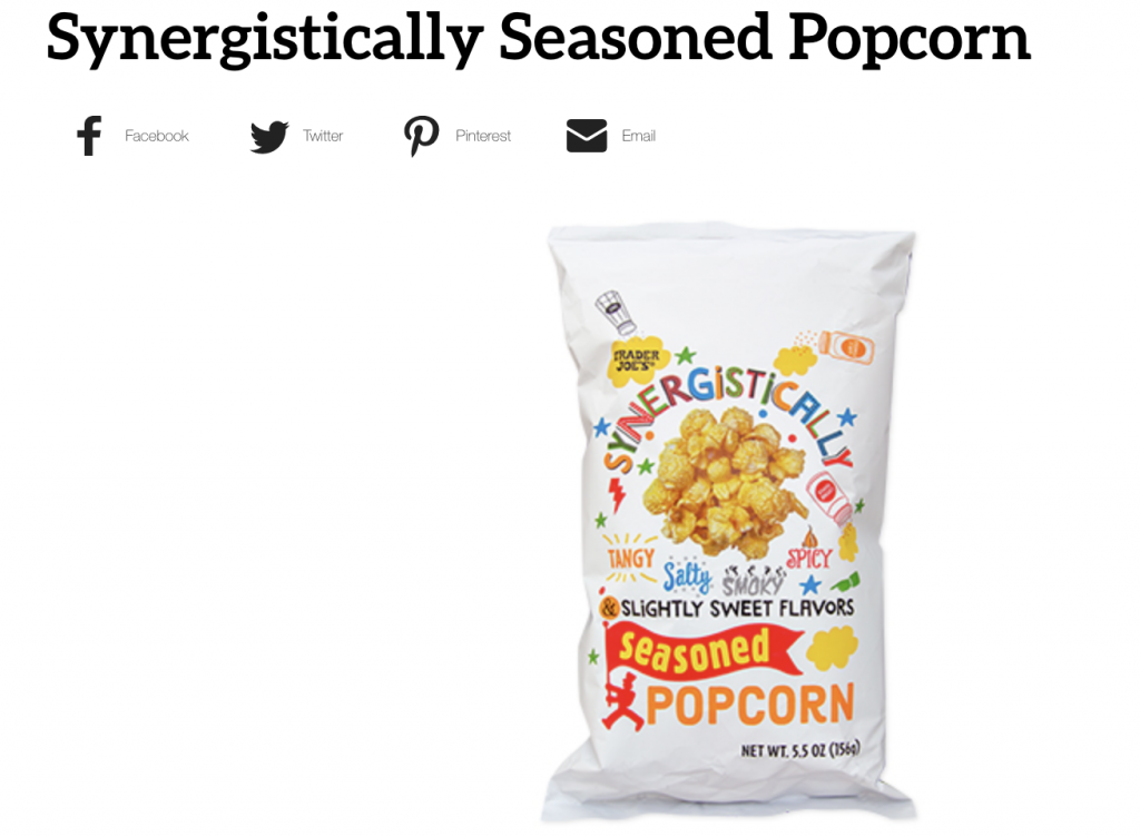 Screen Shot Trade Joe's Synergistically Seasoned Popcorn
