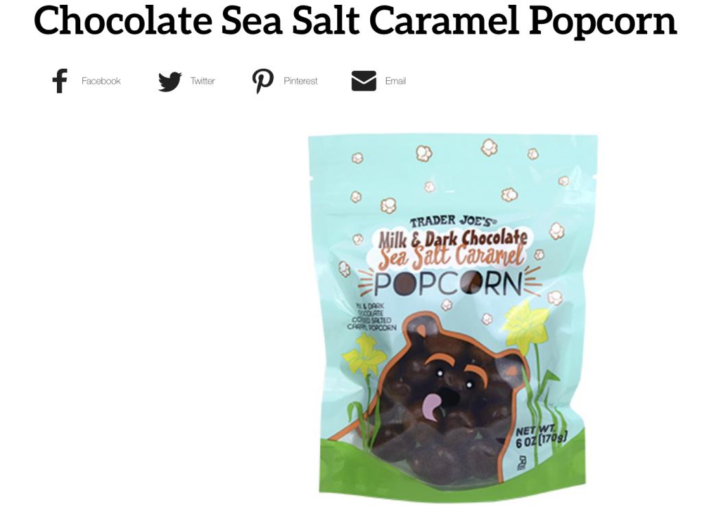 Screen Shot Trader Joe's Chocolate Sea Salt Caramel Popcorn